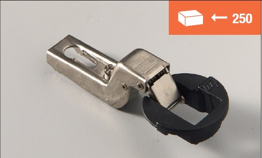 Euro4 hinge 95° inset application for glass doors