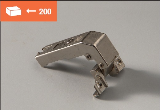 Eurolock hinge 95° for corner cabinets short arm for aluminum doors