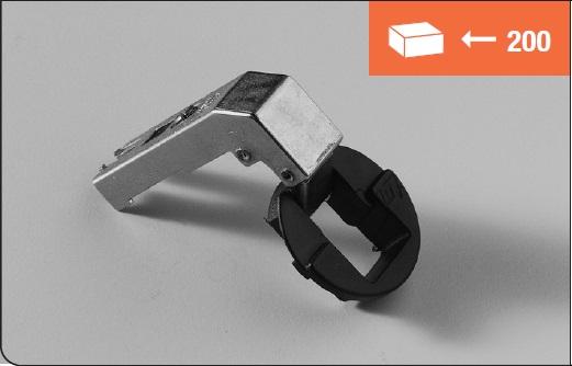 Eurolock hinge 95°  for corner cabinets short arm for glass doors