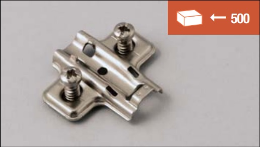 Mounting plate for clip-on hinge, EURO screw 12 mm fixing system, standard version