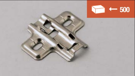 Mounting plate for clip-on hinges, normal screw fixing, standard