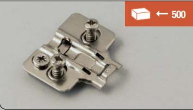 Base di fissaggio a vite EURO 14 mm per cerniere soft-closing, versione con regolazione 3D
