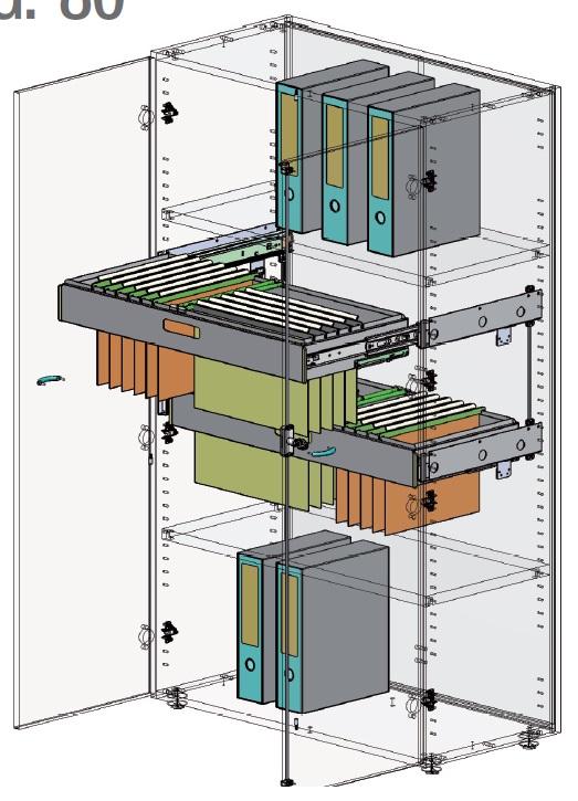 Sistema di archiviazione con guide da 80 Kg per mobile ad anta