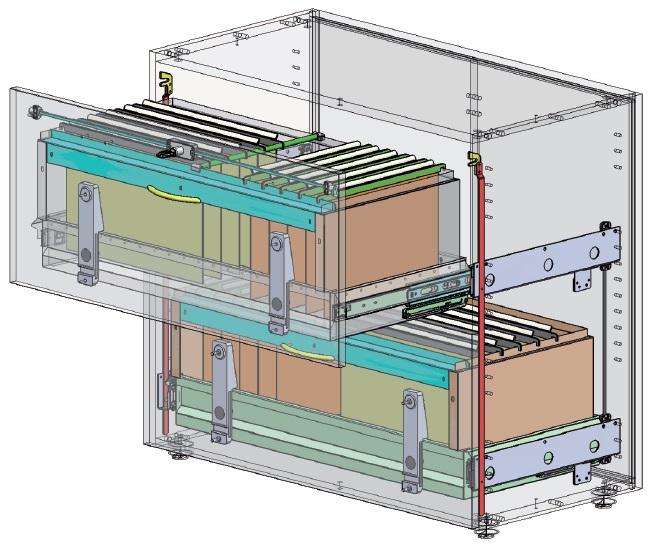 Sistema di archiviazione con guide da 80 Kg, telaio carenato e fascia porta-cartelle per mobili a cassetto