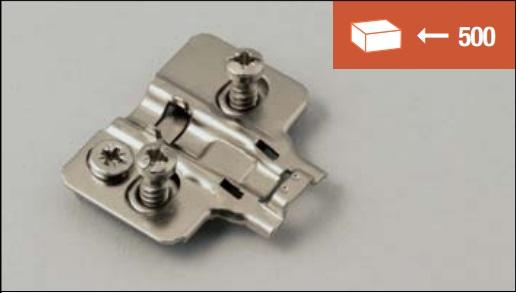 Base di fissaggio a vite EURO 12 mm per cerniere soft-closing, versione con regolazione 3D