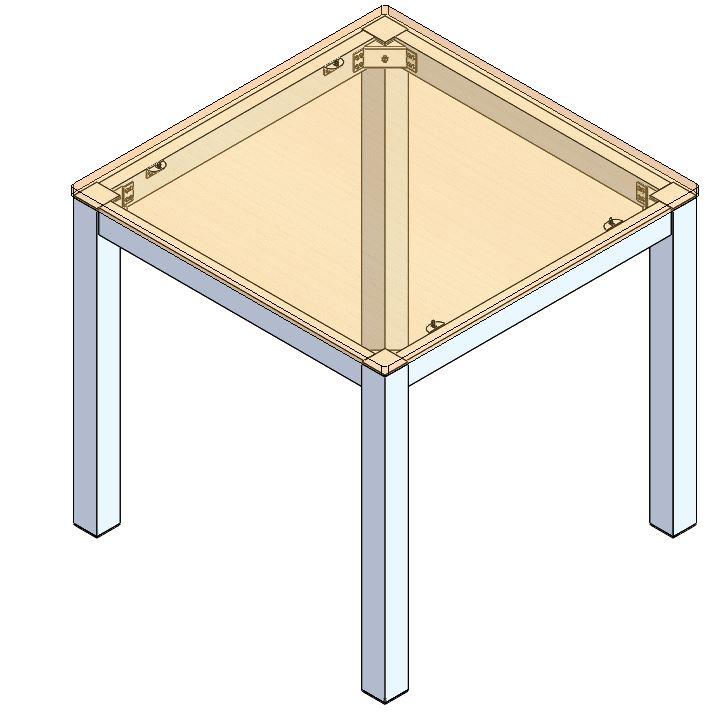Kit di montaggio per tavoli in alluminio - Cm 80 X 80 - Con squadretta