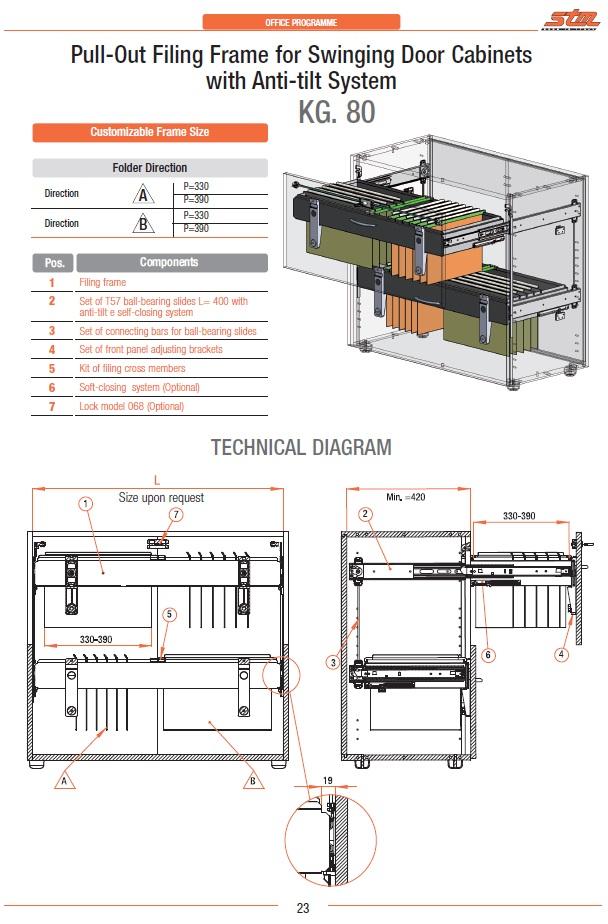 Sistema di archiviazione con guide da 80 Kg per mobili a cassetto