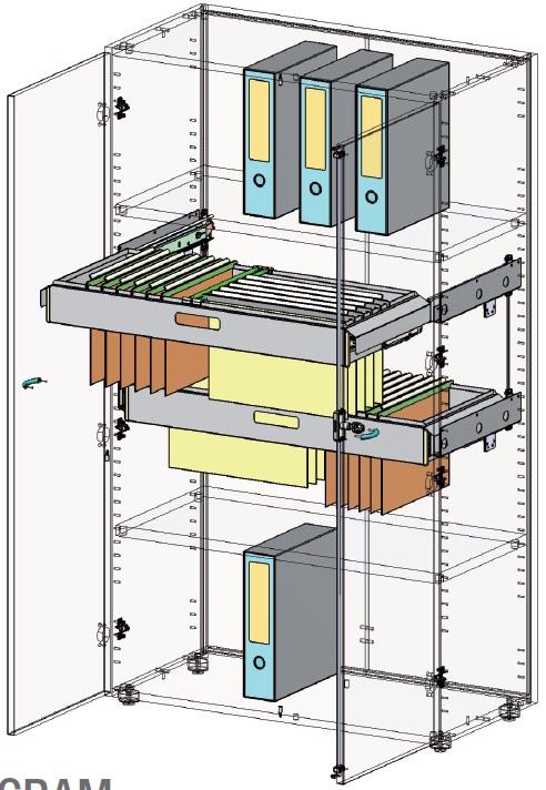Sistema di archiviazione con guide da 80 Kg e telaio carenato per mobili ad anta