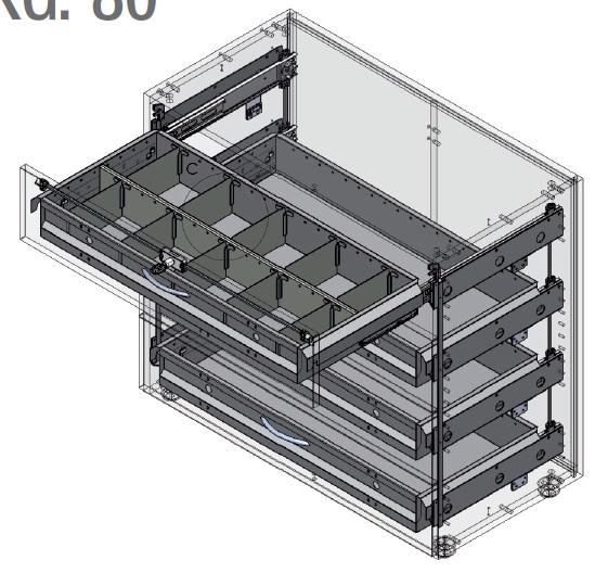 Sistema di archiviazione con guide da 80 Kg, telaio carenato e divisori per mobili a cassetto