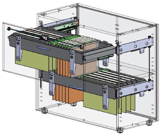 Sistema di archiviazione con guide da 80 Kg e telaio carenato per mobili a cassetto